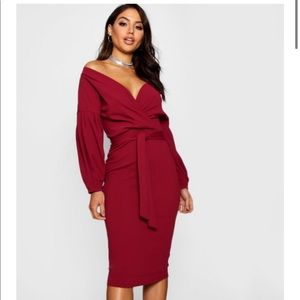 BOOHOO Off the shoulder Midi wrap dress